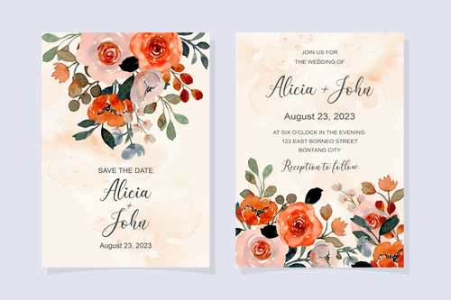 Watercolor flower cover wedding invitation vector
