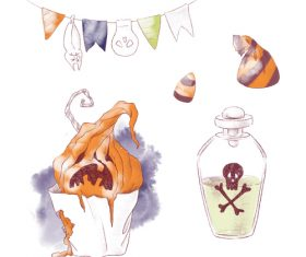 Watercolor illustration halloween vector