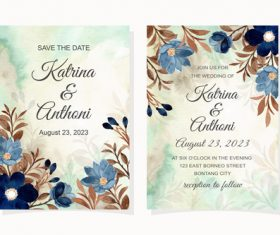 Watercolor leaf cover wedding invitation vector