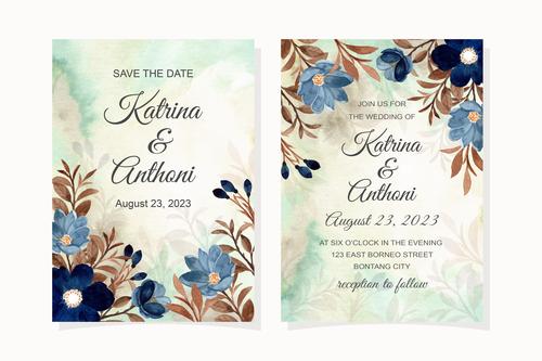 Watercolor leaf cover wedding invitation vector