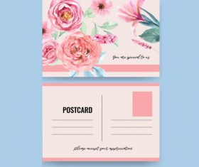 Watercolor postcard cover vector