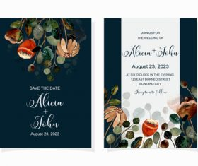 Watercolor wedding invitation banner vector