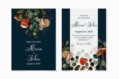 Watercolor wedding invitation banner vector