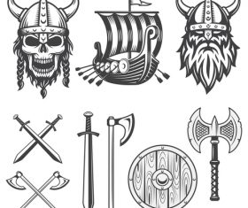 Weapon and pirate logo vector