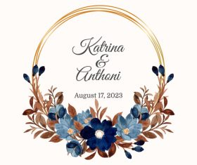 Wedding invitation with blue flower cover vector