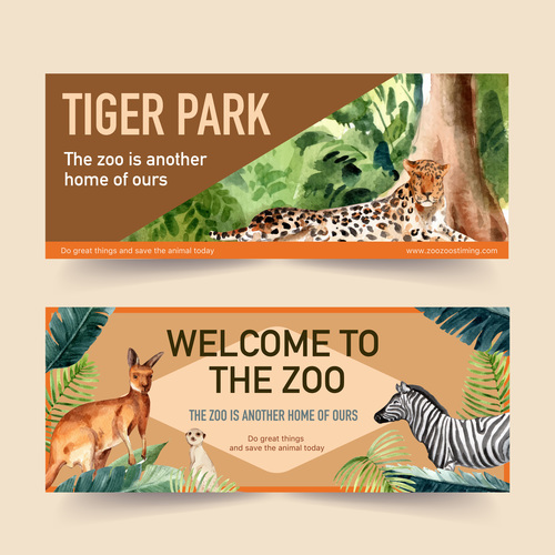 Welcome to the zoo poster banner vector