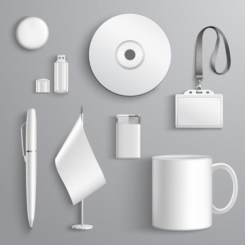 White background business identity design vector