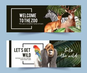 Wild animals watercolor illustration of banner design vector
