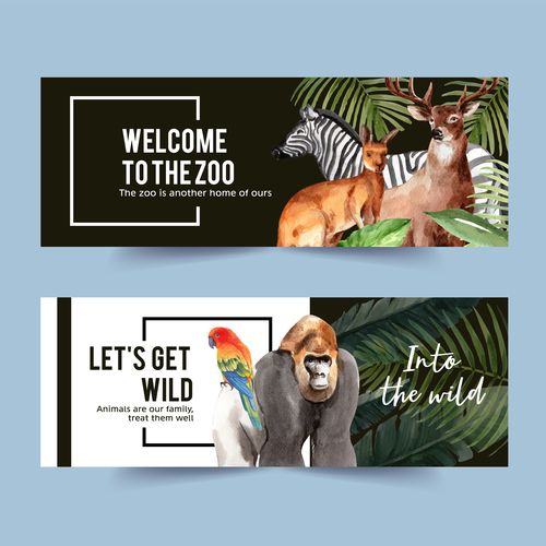 Wild animals watercolor illustration of banner design vector
