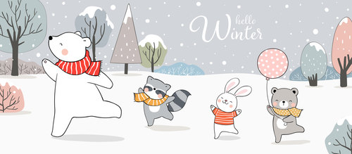 Winter forest animals illustrations vector