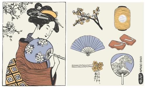 Woman in kimono holds fan vector
