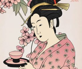 Woman in kimono serving tea vector