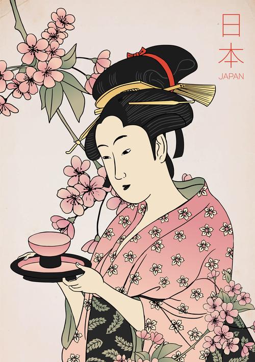 Woman in kimono serving tea vector