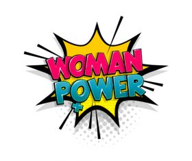 Woman power comic bubble text vector