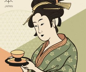 Woman serving tea vector