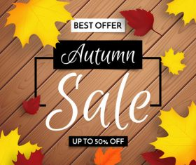 Wooden board background autumn leaves banner sale vector