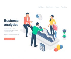 Workplace element isometric business analytics vector