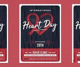 World Heart Day Flyer Template vector