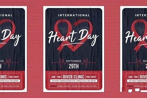 World Heart Day Flyer Template vector