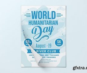 World Humanitarian Day Flyer Template vector