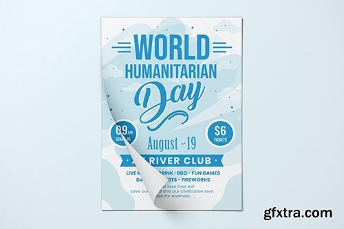 World Humanitarian Day Flyer Template vector