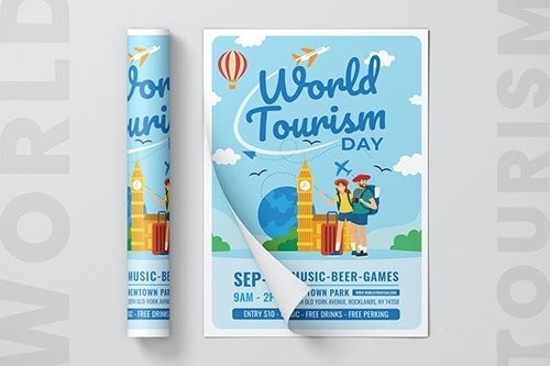 World Tourism Day Flyer Template vector
