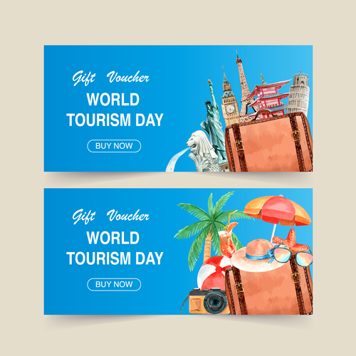 World tourism day poster vector