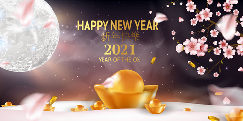 Year of the ox 2021 vector