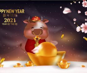 Year of the ox greeting card 2021 vector
