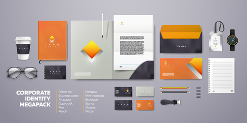 Yellow diamond block corporate branding identity template vector