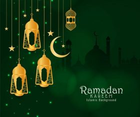 Yellow lights crescent background ramadan festival card vector