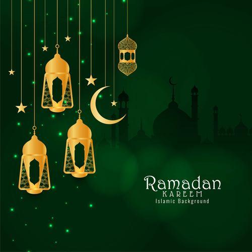 Yellow lights crescent background ramadan festival card vector