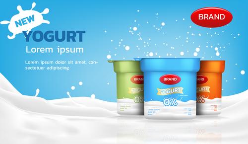 Yogurt advertising brand design vector