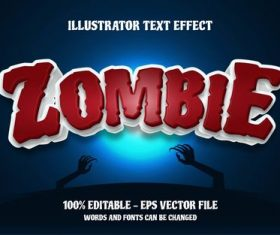 Zombie editable font effect text vector