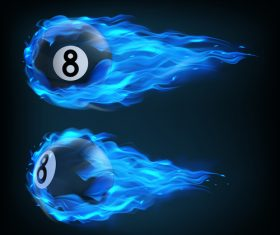 flying in blue fire billiard realistic vector