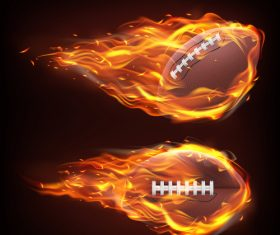 flying in fire rugby realistic vector