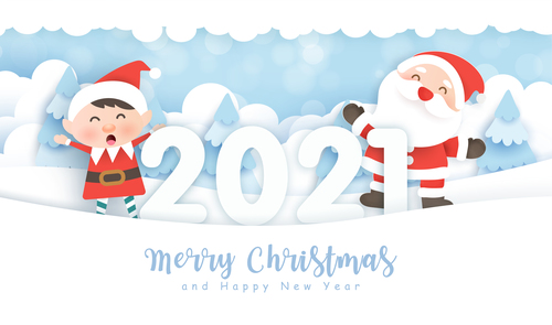 2021 christmas greeting card vector