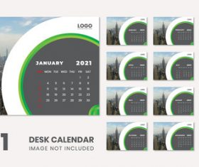 2021 city background wall calendar vector