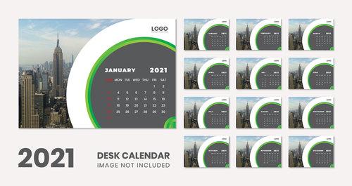 2021 city background wall calendar vector