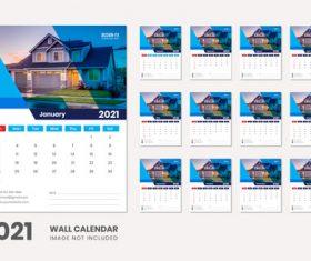 2021 desk calendar 12 months vector