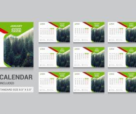 2021 desk calendar vector