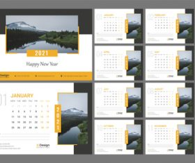 2021 nature background wall calendar vector