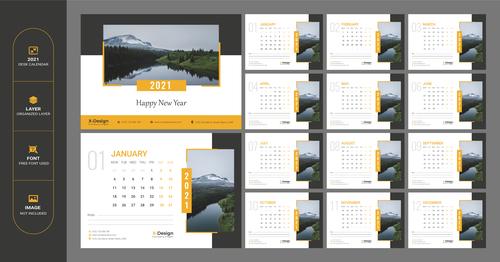 2021 nature background wall calendar vector