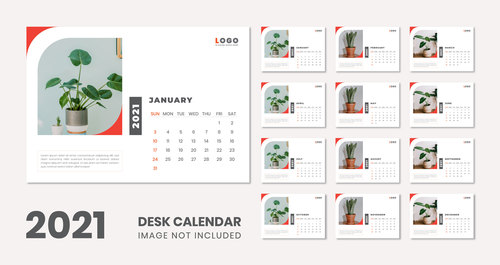 2021 ornamental plant cover wall calendar vector