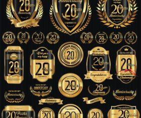20th anniversary badges vector