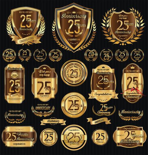 25th anniversary badges vector