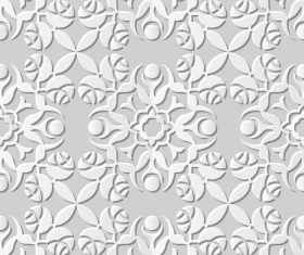 3D paper floral pattern vector