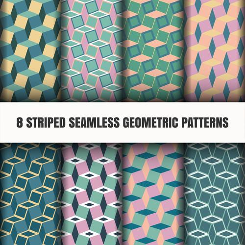 8 striped seamless geometric pattern vector