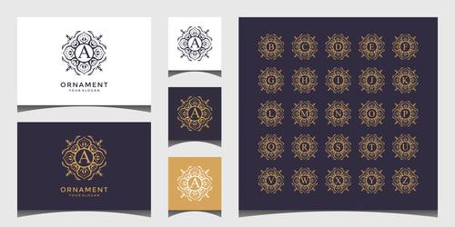 Alphabet business card design vector