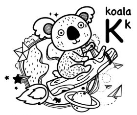 Animal literacy card koala illustrations vector